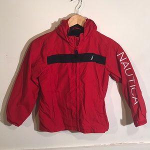 Kids Red and Blue Windbreaker Jacket w/ Hoodie Med